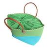 Lime Green and Turquoise Beach Bag with drawstring closure