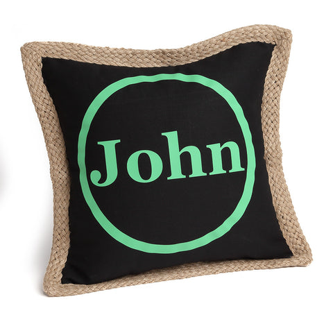 Monogrammed Pillow Cover with Circle