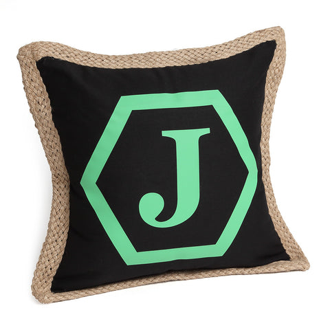 Monogrammed Pillow Cover with Hexagon