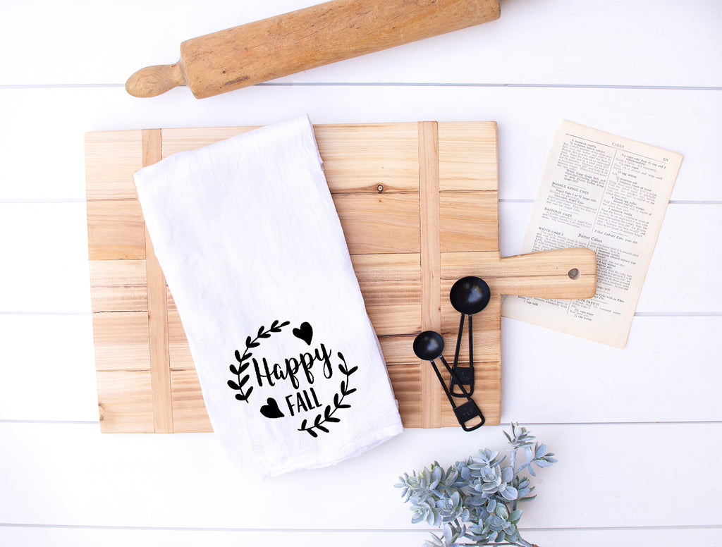 Happy Fall Flour Sack Kitchen Hand Towels
