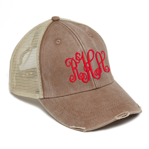 Distressed Baseball Cap in Brown with Tan