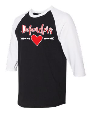Defenders Heart and Arrow Spirit Wear-Gildan - Heavy Cotton Three-Quarter Raglan Sleeve Baseball T-Shirt