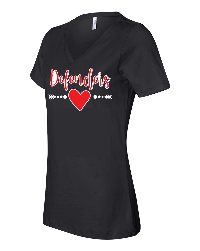 Defenders Spirit Wear with Heart Arrow T-Shirt -Bella Canvas Women's V-Neck