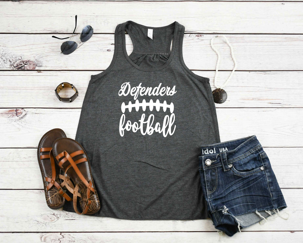 Defenders Football Design with Football Laces-Bella Canvas Flowy Racer Back Tank