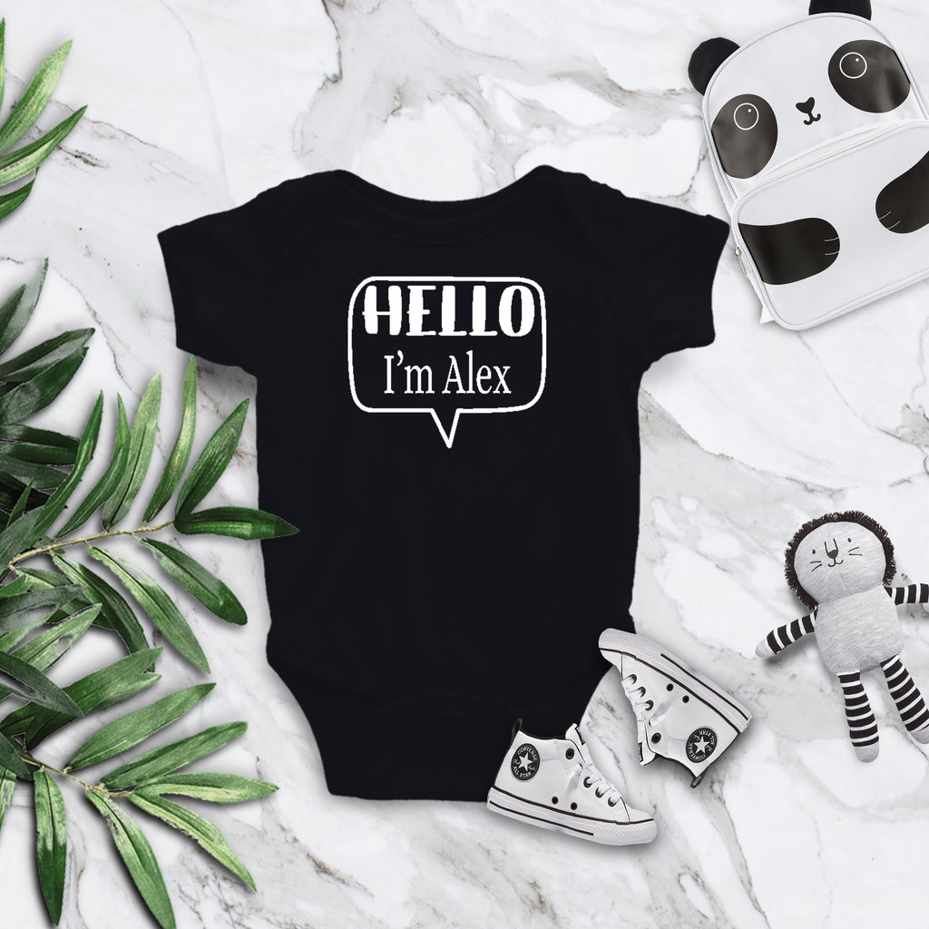Hello I'm ... Personalized Name Tag Rabbit Skin Body Suit in Black