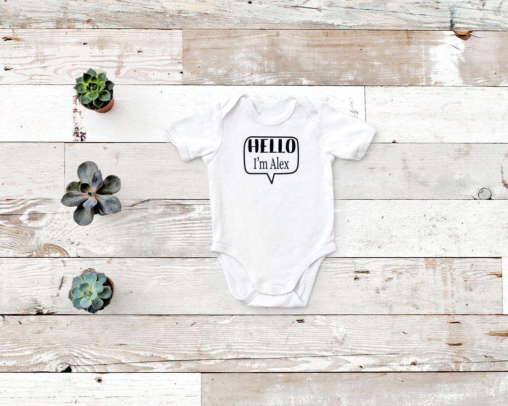 Hello I'm ... Personalized Name Tag Rabbit Skin Body Suit in white