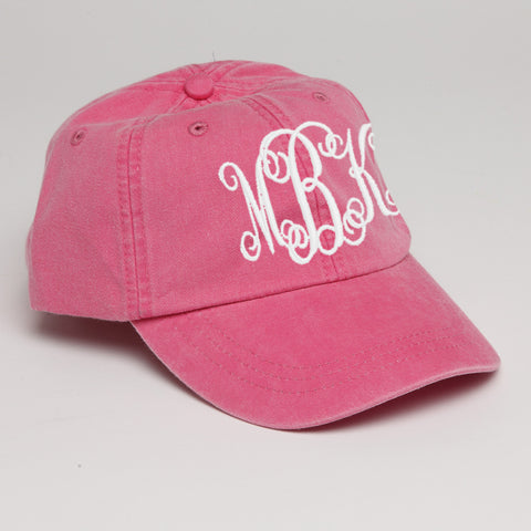 Monogram Baseball Hat-Hot Pink