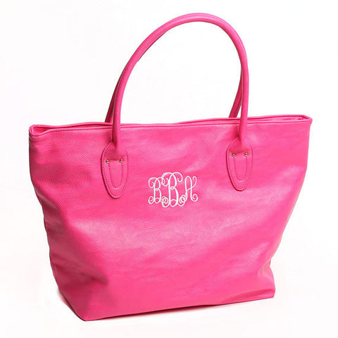 Hot Pink Large Purse, Hot Pink Monogram Beach Bag, Hot Pink Purse