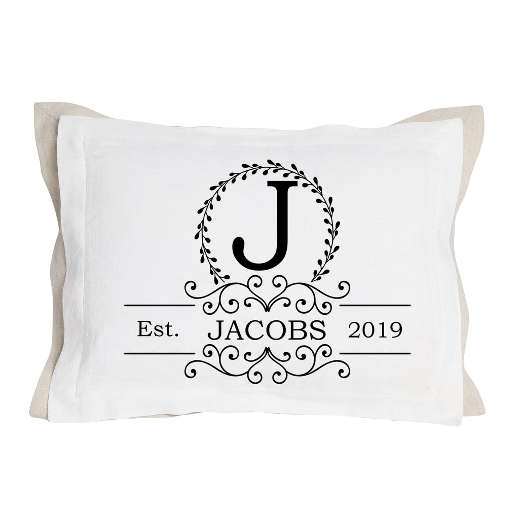 Wedding Name, Initial  and Established Date Pillow-Two Layers of Fabric