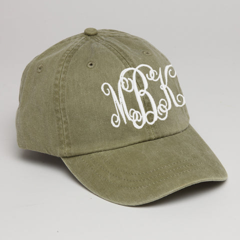 Monogram Baseball Hat-Khaki