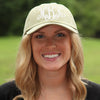Khaki Monogrammed Hat on Model