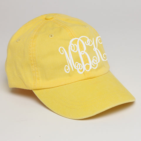 Monogram Baseball Hat-Lemon Yellow