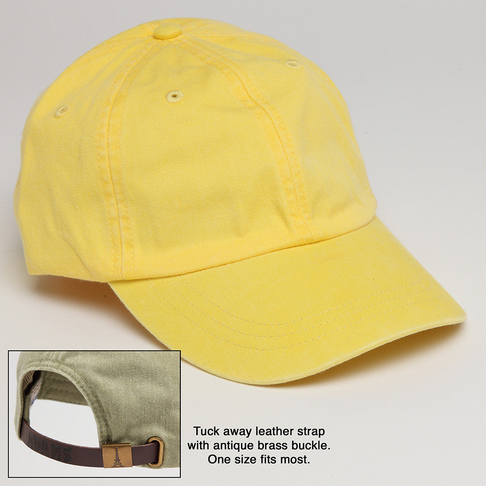 Lemon Yellow Baseball Hat with Adjustable Leather Strap