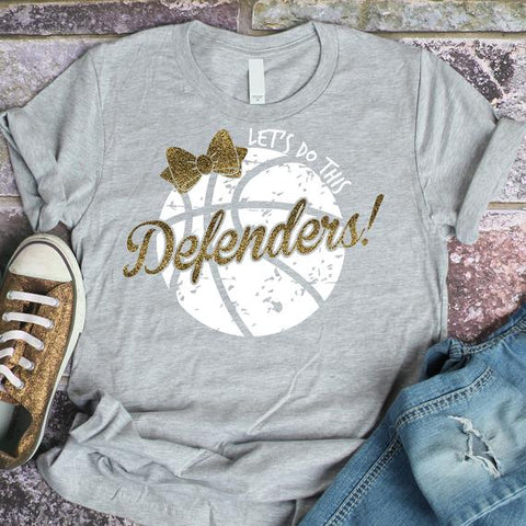 Let's Do This Defenders! Girls Basketball With Bow Spirit Wear Fruit of the Loom - Soft spun Crewneck T-Shirt