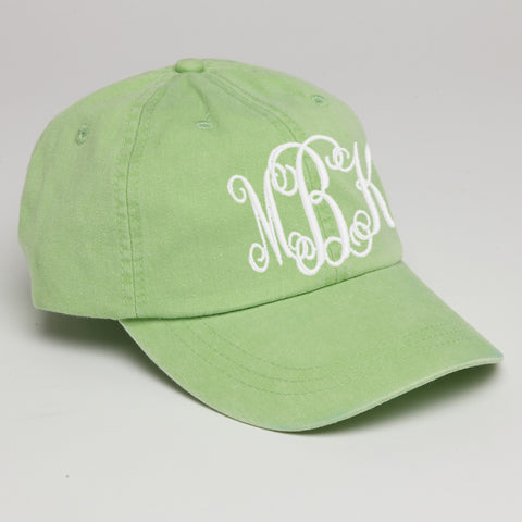 Monogram Baseball Hat-Lime Green