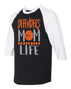Defenders Mom Life Basketball Spirit Wear-Gildan - Heavy Cotton Three-Quarter Raglan Sleeve Baseball T-Shirt