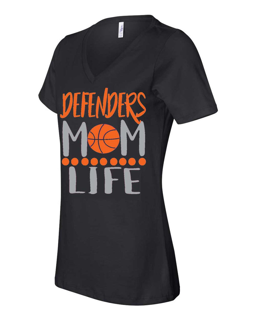 Defenders Mom Life Basketball Spirit Wear T-Shirt -Bella Canvas Women's V-Neck