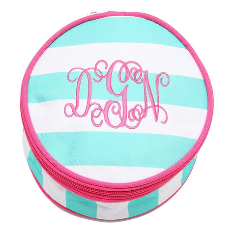 FLASH SALE! Monogram Button Jewelry Pouches -Green and White Stripe