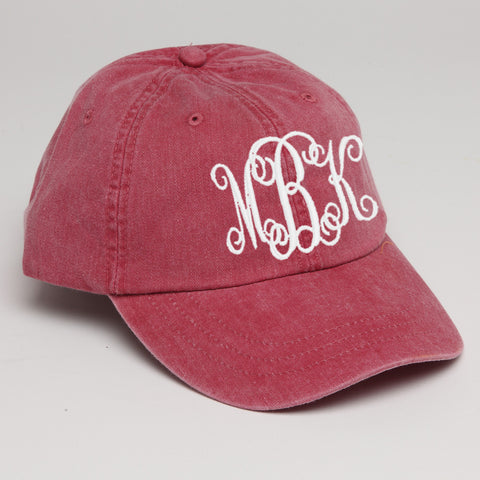 Monogram Baseball Hat-Nautical Red