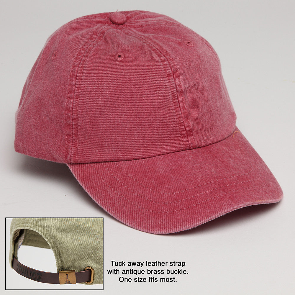 Nautical Red Baseball Hat with adjustable strap.