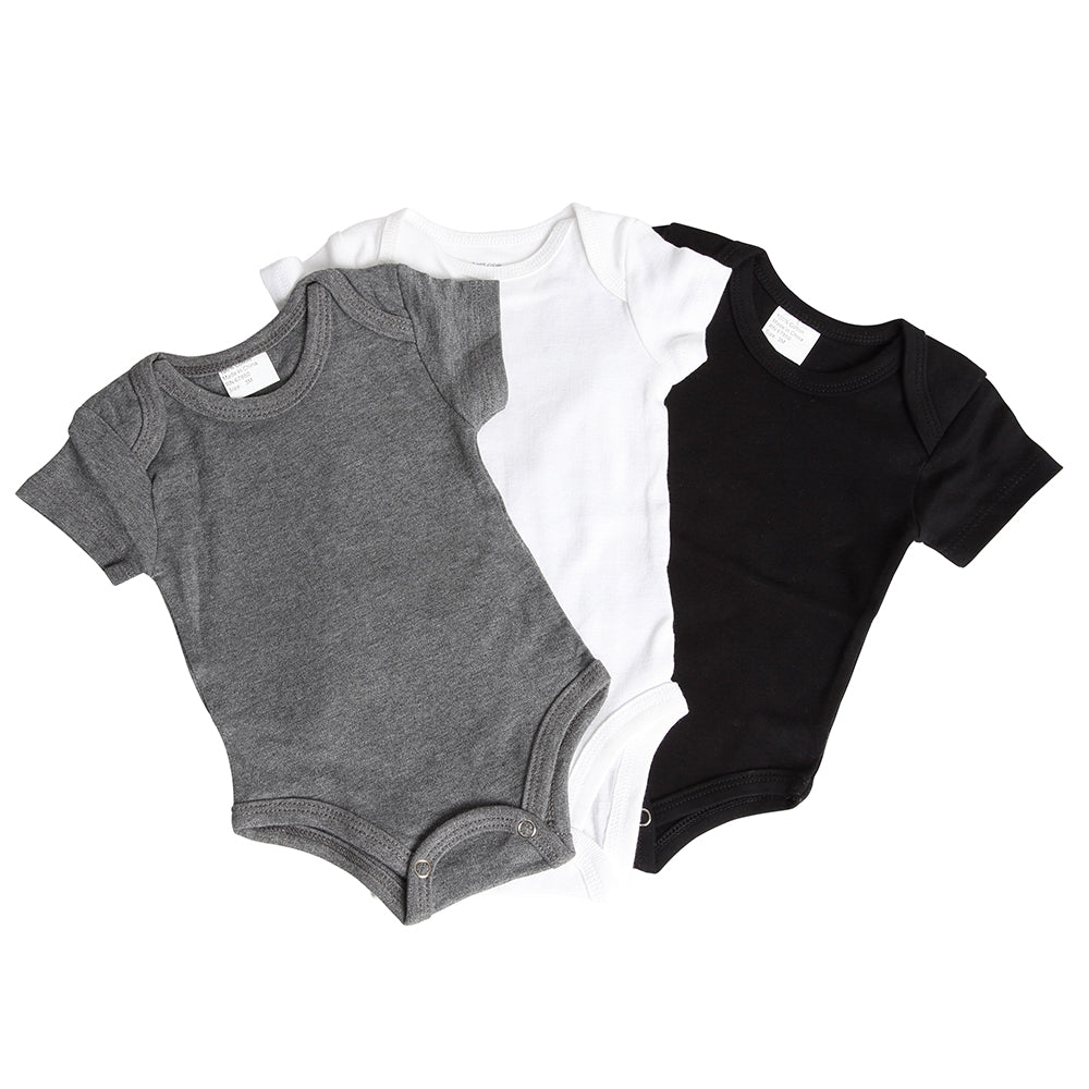 Gray, White and Black Onesie