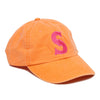 Orange single letter monogrammed hat