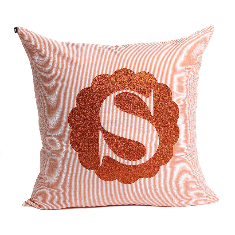 Orange and White Seer Sucker Monogrammed Euro Sham Pillow, Size 26""