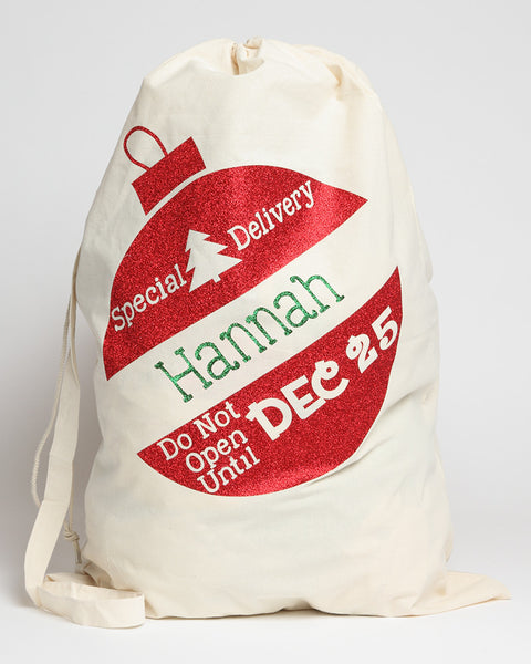 Santa Sack Red Ornament with Green Letters