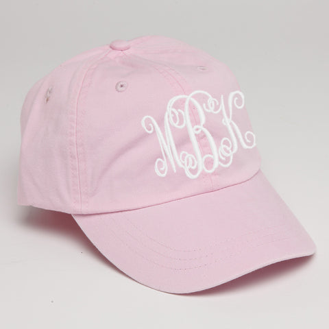 Monogram Baseball Hat-Light Pink