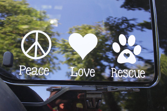 Peace, Love Rescue Vinyl Decal on car