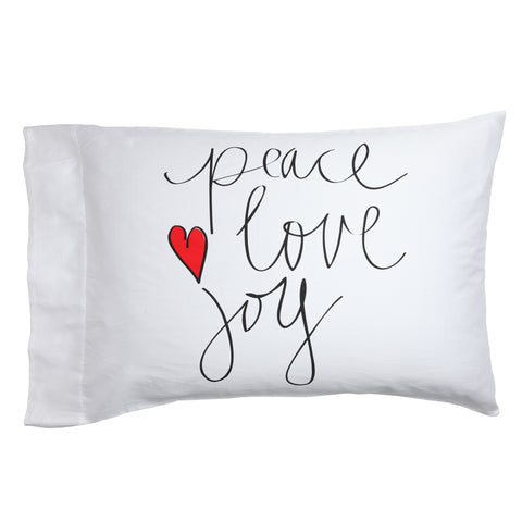 Peace Love Joy Holiday Pillow Case