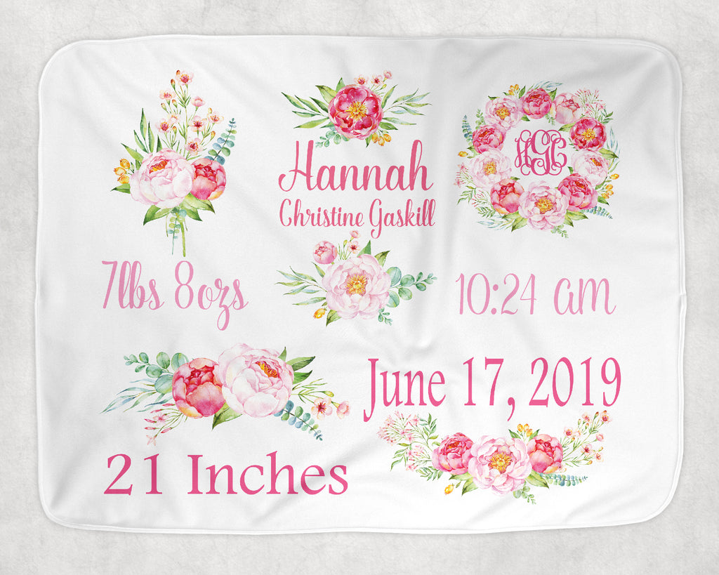Personalized Peony Themed Baby Blanket for Baby Girl Includes Birth Information