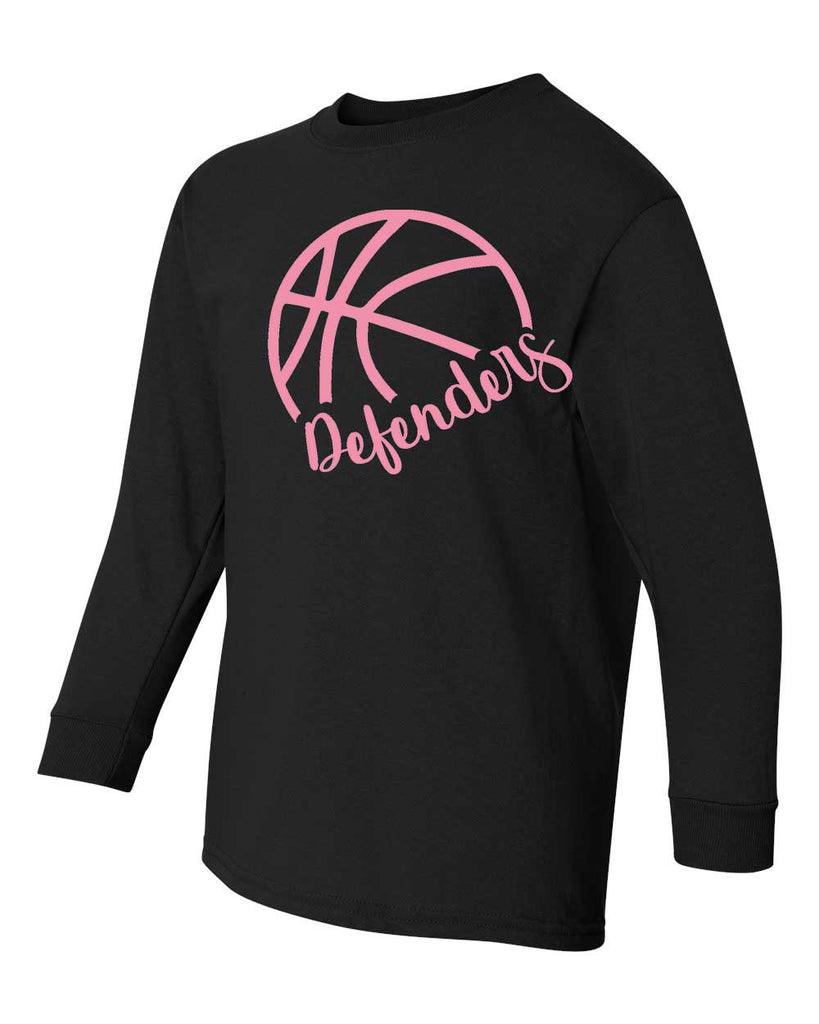 Defenders Side Net Basketball Spirit Wear-Fruit of the Loom Long Sleeve T-shirt