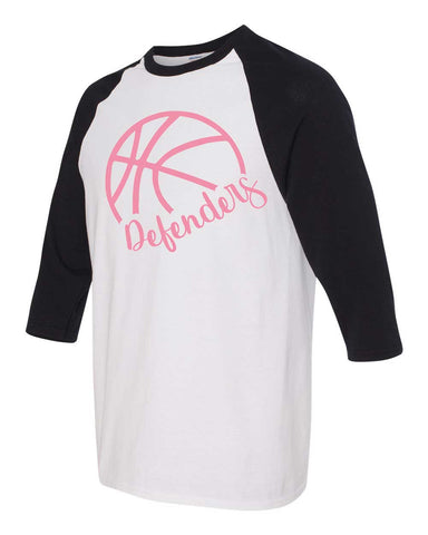 Defenders Side Basketball Spirit Wear-Gildan - Youth Heavy Cotton Three-Quarter Raglan Sleeve Baseball T-Shirt