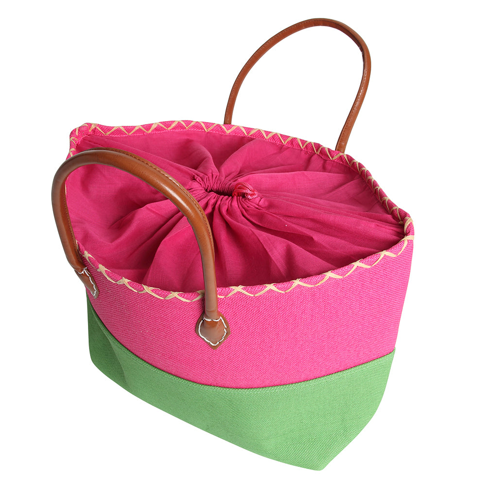 Color Block Beach Bag with drawstring closure