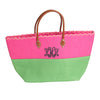Color Block Beach Bag With Monogram
