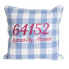 Blue and White Buffalo Check Zip Code Pillow