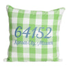 Green and White Buffalo Check Zip Code Pillow