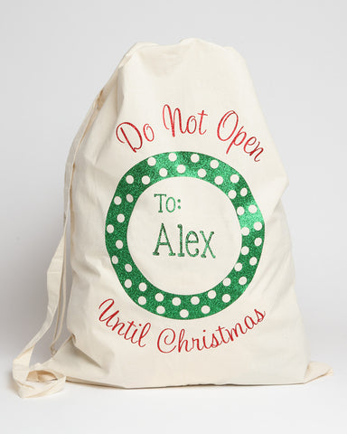 Personalized Santa Sack with Green and White Polka Dots
