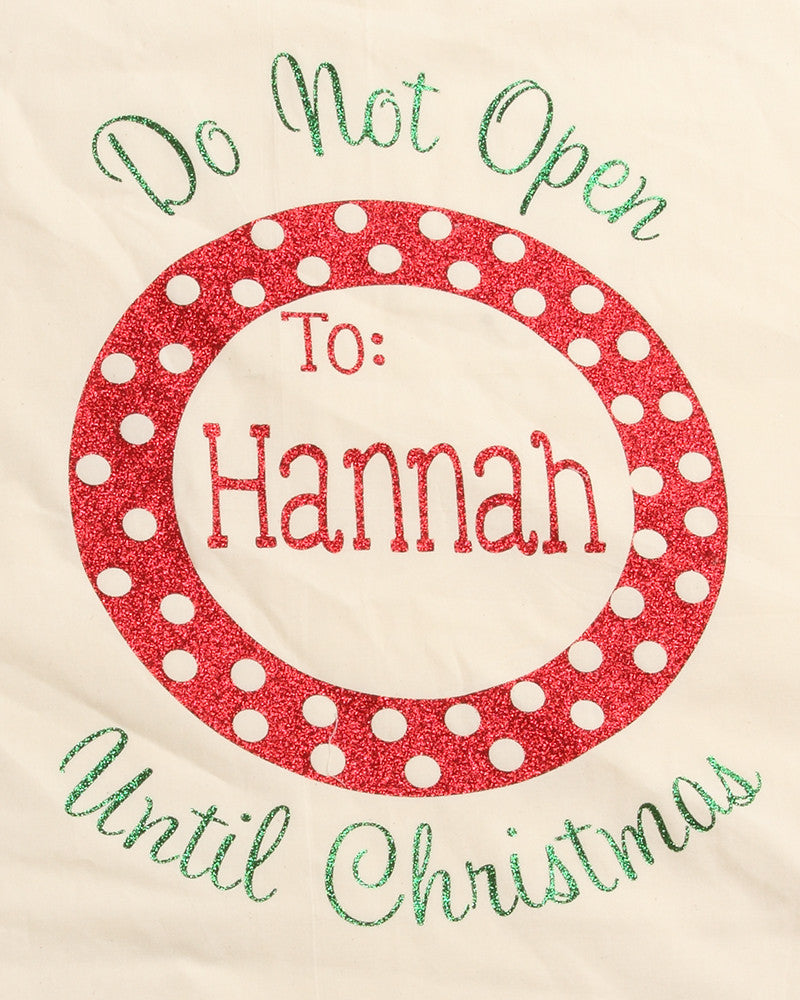 Polka Dot Personalized Santa Sack Close up