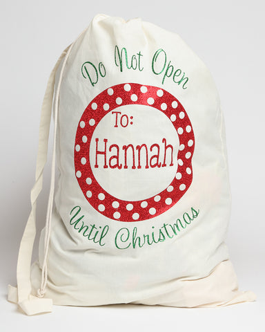 Personalized Santa Sack with Red and White Polka Dots