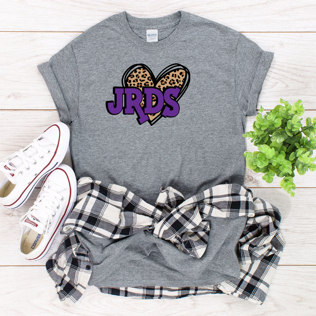 Leopard Heart with JRDS in Purple Letters T-Shirt