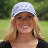 Purple Monogrammed Hat on Model
