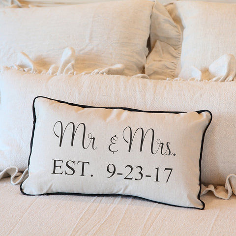 Mr. and Mrs. Pillow with Wedding Date, Newlywed Pillow With Insert