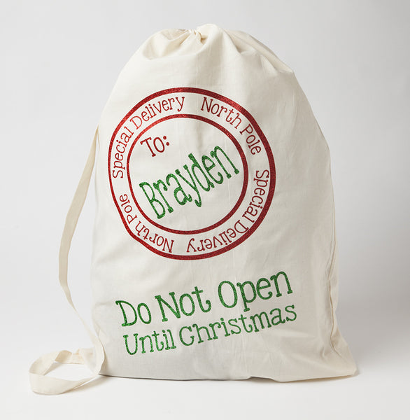 Personalized Santa Sack with red circle and green name