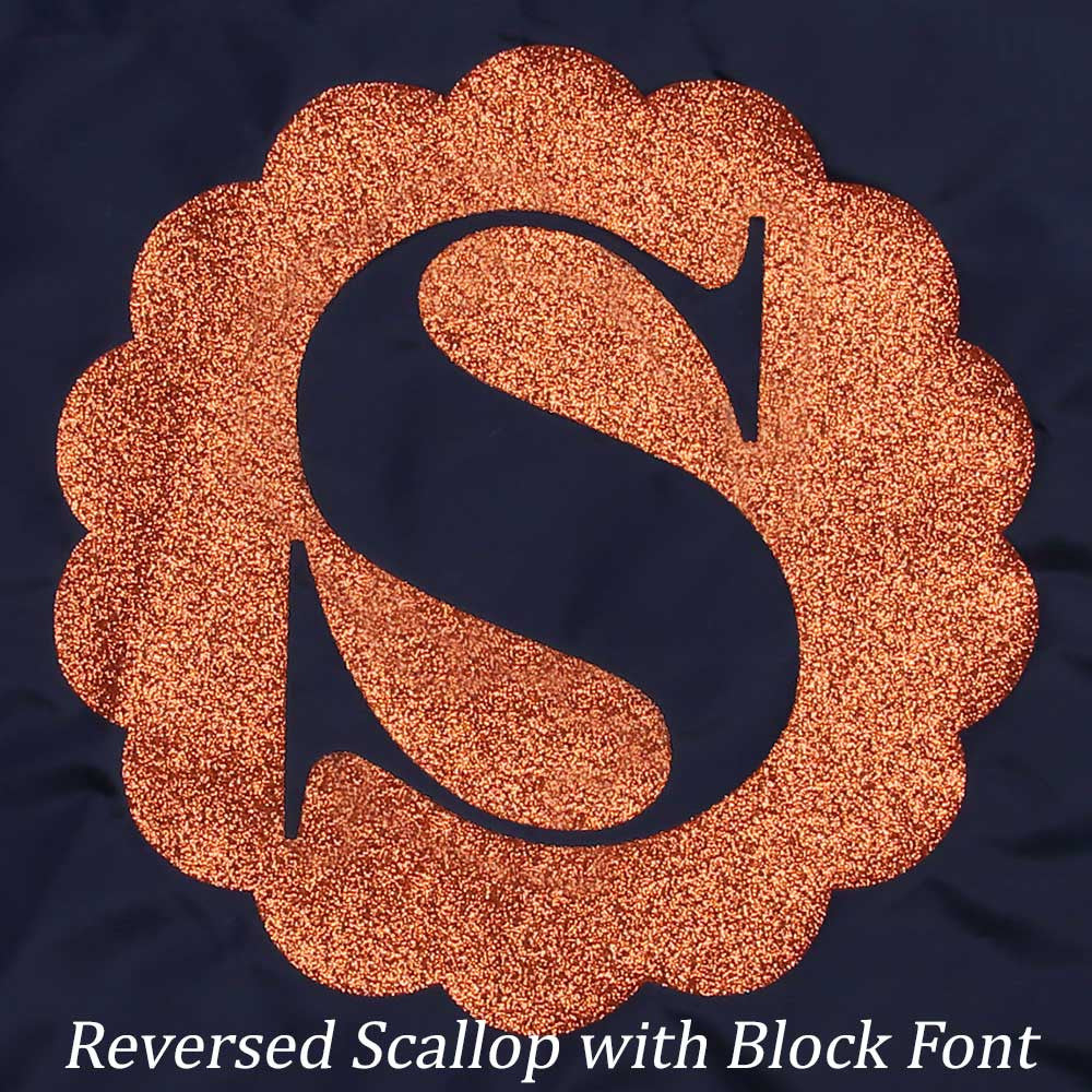 Reversed Scallop with Block Font