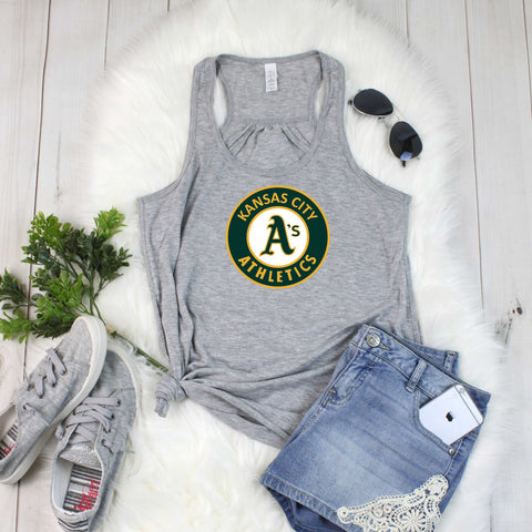 KC A's Baseball-Bella Canvas Flowy Racerback Tank For Women