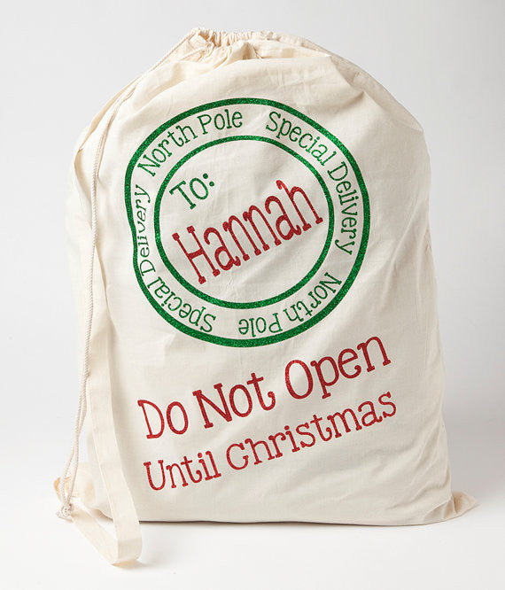 Personalized Santa Sack with Green and Red Glitter