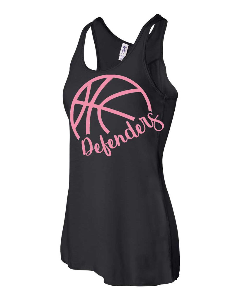 Defenders Side Basketball Spirit Wear T-Shirt -Bella Canvas Flowy Racer Back Tank