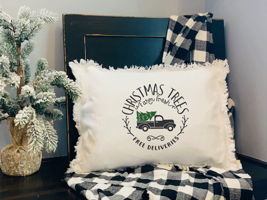 Christmas Tree Farm Pillow on Fringed White Pillow with Insert